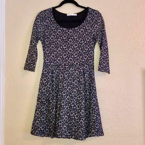 LUSH Grey Black Lace Floral Print Dress